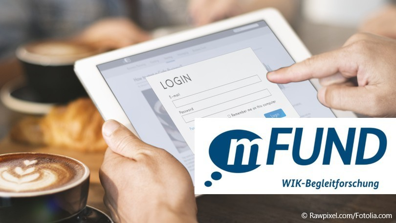 tablet mit login-fenster