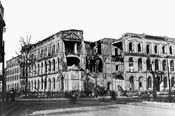 Photo of the bombed building in 1945